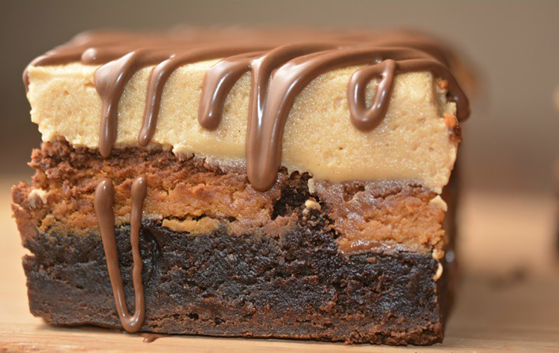 Stuffed Brownie and Peanut Butter Frosting